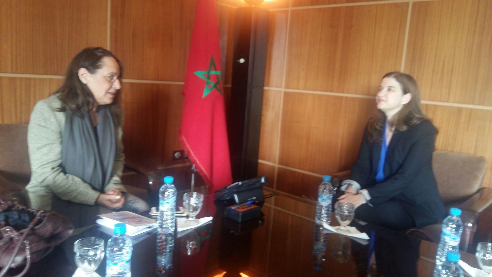 Aouatif Berdeai, Vice Présidente chargée de la Coopération Décentralisée reçoit son Excellence Nathalie Dubé, Ambassadrice du Canada Au Maroc